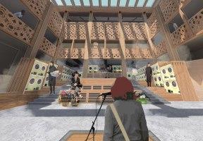 Speaking in the laundrette debating chamber