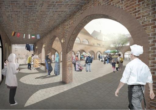 morning market courtyard